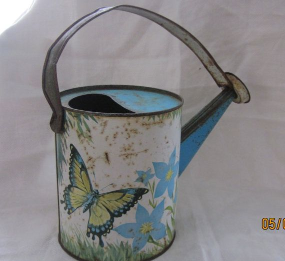Charming Midcentury Rustic Tin  Watering Can by angelinabella, $23.00
