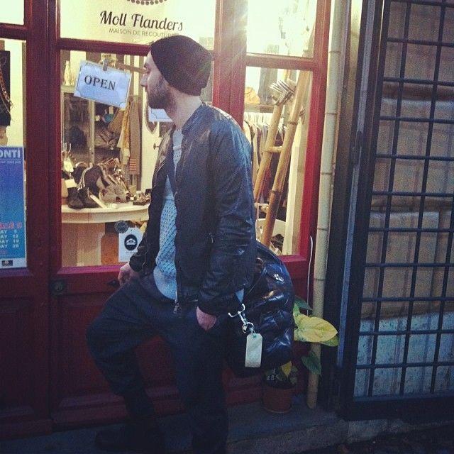 Shopping in Roma: pants #NeilBarrett, knitwear #NeilBarrett, leather jacket #GiorgioBrato, bag #MarcJacobs