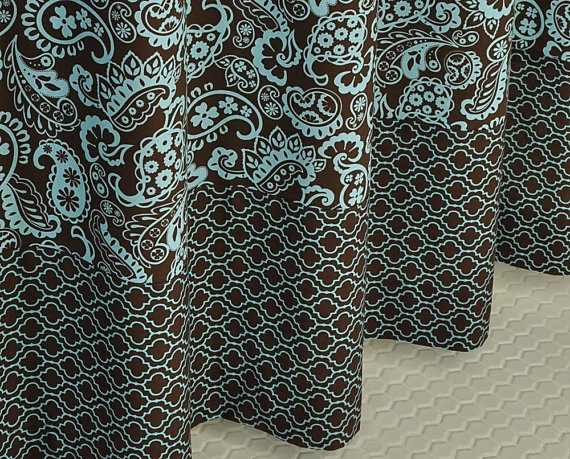 Brown Blue Paisley Shower Curtain By Pondlilly On