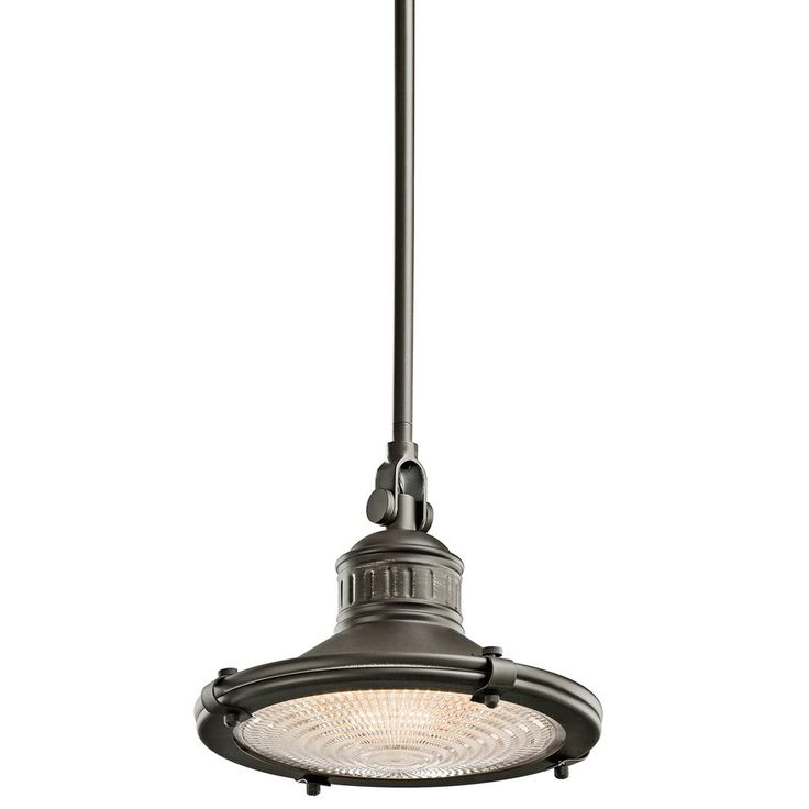 kichler 42436oz 60w sayre pendant light with clear fresnel lens diffuser and olde bronze finish
