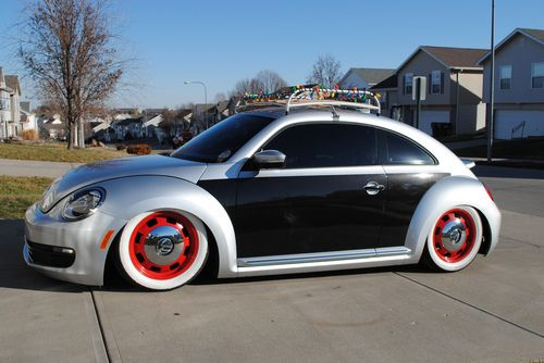 Silver and black beetle with red rims