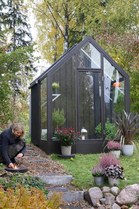 Love The Look Of This Glassed In Enclosure Off The Potting Shed. The Long  Upright Glass With The Black Trim Would Look Great In My Backyard :)