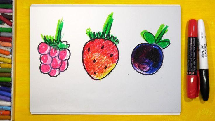 Как нарисовать 3 сладкие ягоды (Малина, Клубника, Черника), Урок рисован...