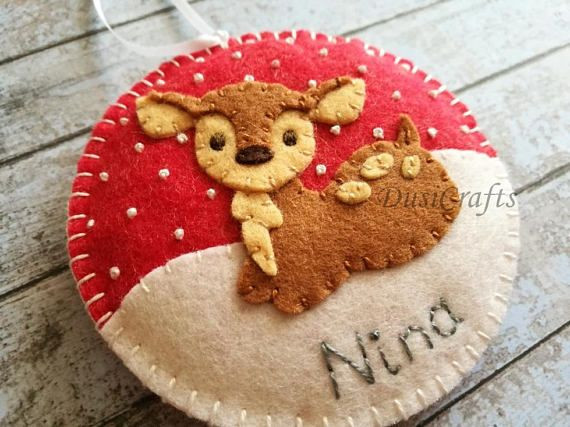 Personalized Baby Deer ornament Wool felt Deer ornaments with