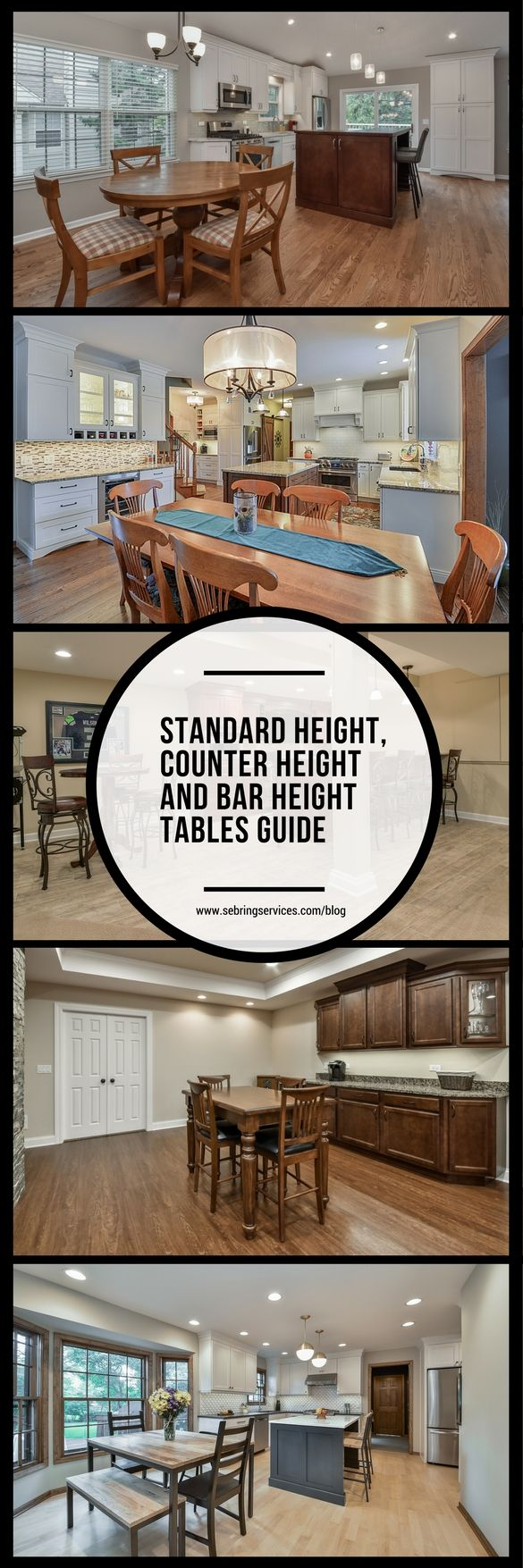If you are in the process of planning out new kitchen and dining spaces, you may be wondering how the height of your tables and chairs will impact your daily life and the enjoyment of your newly remodeled spaces. Perhaps you're thinking of having a counter eating area built in or you want to get away from the standard dining room table, so you're considering a counter or bar height table. Either one can be beneficial for different scenarios.