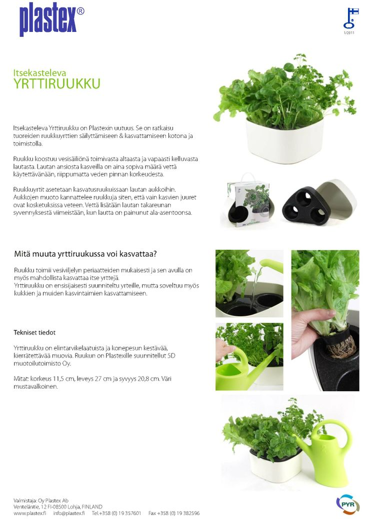 Suomessa valmistettu yrttiruukku! Itsekasteleva yrttiruukku on erinomainen kotikasvatukseen niin mökille kuin kotiinkin.