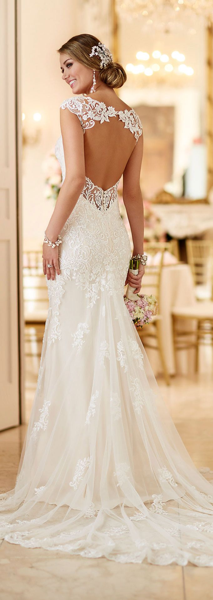 Lovely LUSAN MANDONGUS bridal wedding dresses lace strap low open back slim cut sheath
