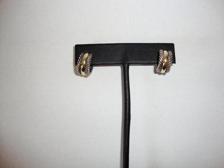 David Yurman Cable Classics Huggie Hoop Earrings Sterling 925 14k Gold 585 #Hoop #huggie #earrings #secondchance #kansas #consignkanas #davidyurman