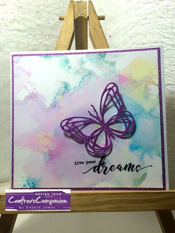 Flutterby collection- 6x6 card made using Sara Signature Flutterby Collection – simplistic sentiments die Designed by Debbie James#crafterscompanion