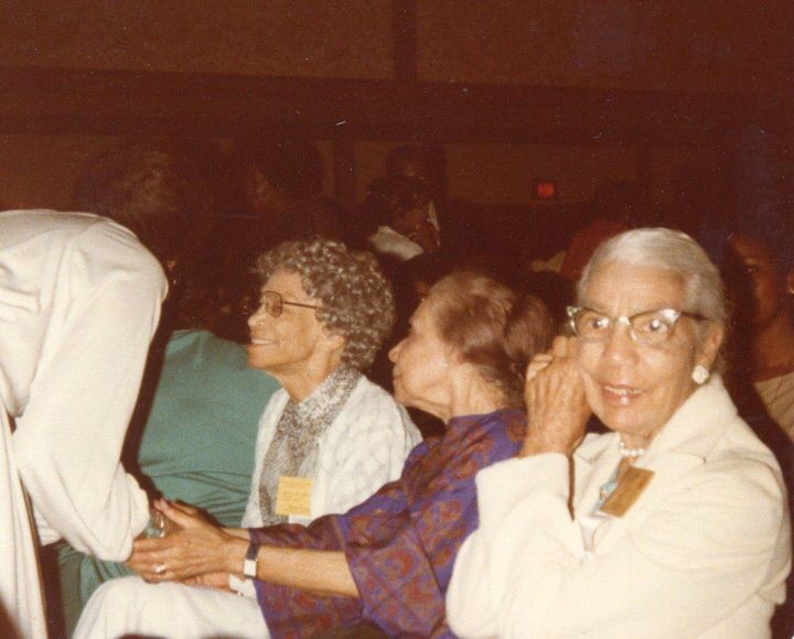 Three of Delta Sigma Theta Sorority, Inc. Founders ( contributed by Alpha Chapter Soror Jan Eula Burt) seated left to right Founders Bertha Pitts Campbell, Oseola McCarthy Adams and Winona Cargile Alexander