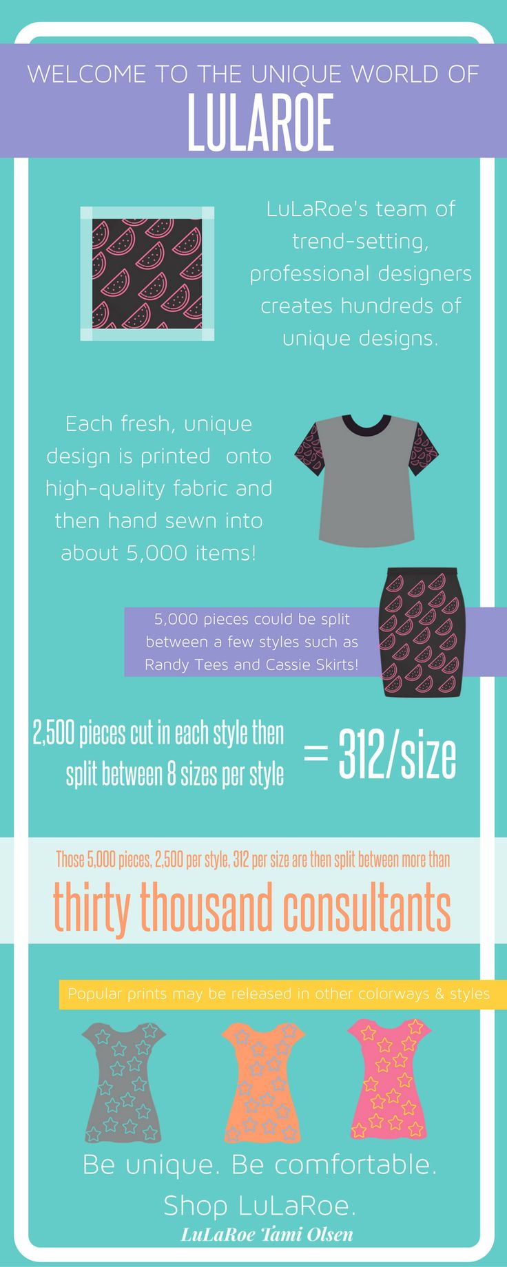 LuLaRoe is a fun and comfortable clothing company! Join my group for more information:) www.facebook.com/groups/lularoetamiolsen