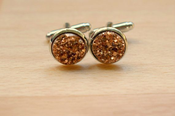 Champagne Druzy Cuff Links  Cuff Links For Groom  by SkadiJewelry