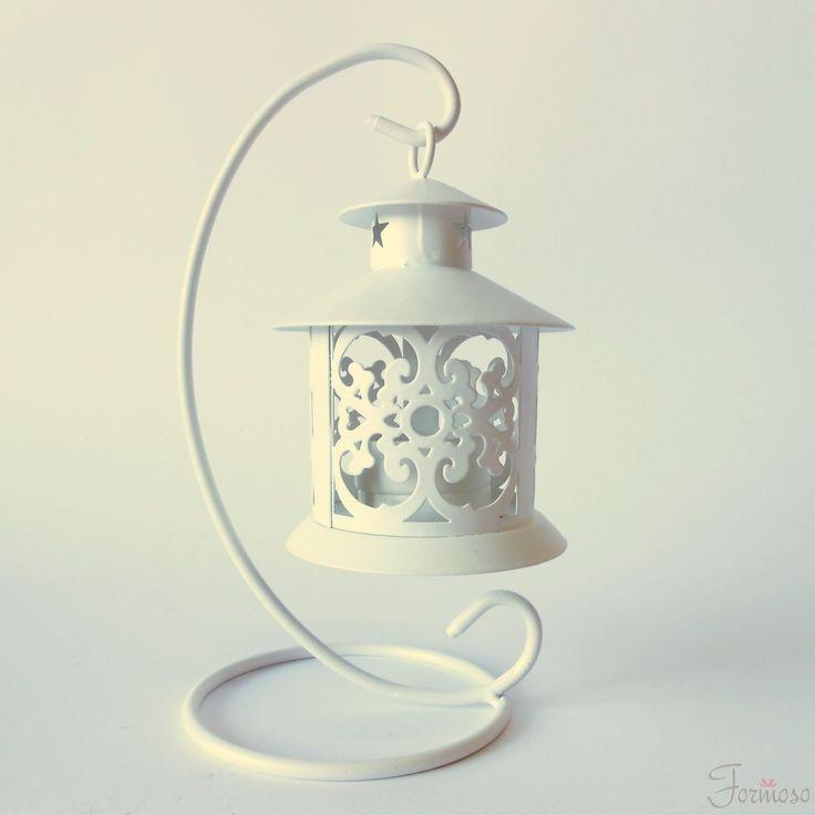 Immagine di Lanterna bianca porta candela cavalletto metallo 90x205mm bomboniera art 11908