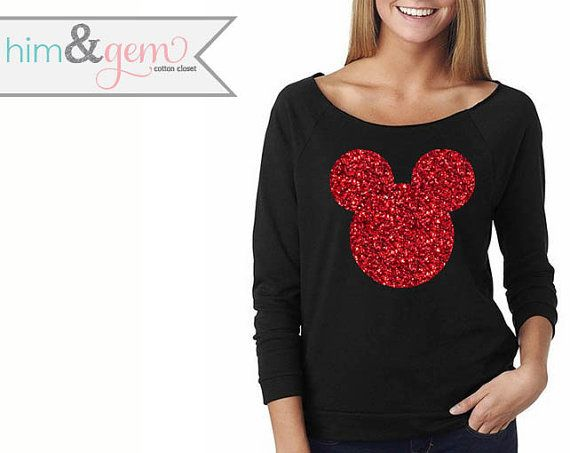Thank you so much for stopping by our shop! We are delighted to have you here! Meet our over-sized, wide neck Glittery Mickey Mouse silhouette Him &