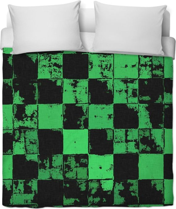 Grunge style duvet cover, bricks tiled pattern, black and green squares, worn out look, post-apo bedroom decor - item printed at www.rageon.com/a/users/casemiroarts - also ... #canvas #art #print #erotic #sensual