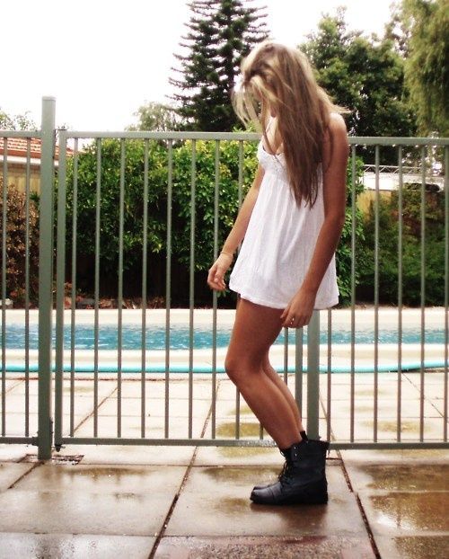 Combat Boot Style.... love back when I was in jr high I used to wear my doc's with sundresses, love that its back! Soo cute!!