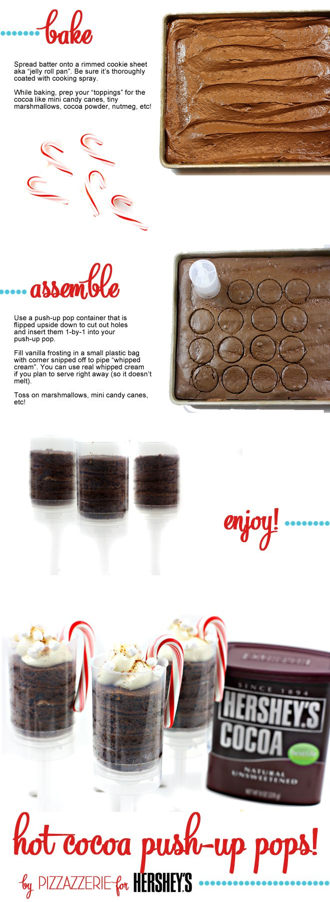 I love making Push-Pops and these Hershey's Hot Cocoa Push-Up Pops by Pizzazzerie look super yummy!
