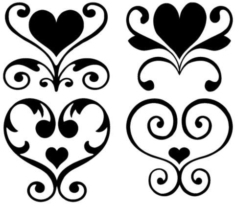 Stencil Heart Damask