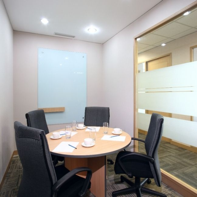 Small Meeting Room with glass wall and dry erase ...