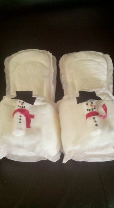 Maxi pad slippers with tampon snowmen for a gag gift ...