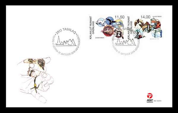 Stamps about Zackenberg Research Station in North East Greenland. Designed by Naja Abelsen. Released 17.10.2016. The motive of the first day cover shows a chick getting a ring.  www.najaabelsen.dk