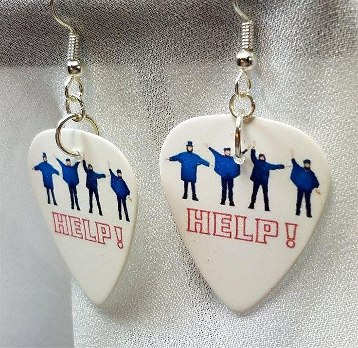 The Beatles Help Album Cover Guitar Pick Earrings