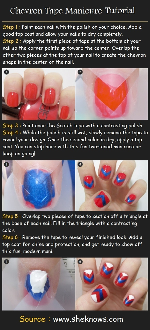 Beauty Tutorials: Chevron Tape Manicure Tutorial