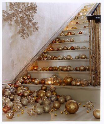 ornaments on the stairs. great way to keep people downstairs at a Christmas party