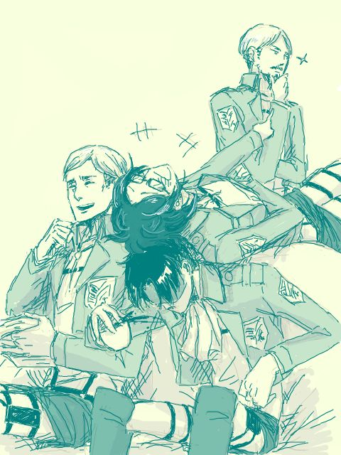 | Erwin Smith, Mike Zacharias, Hanji Zoe, Levi Ackerman | If someone asks me what the Survey Corps is, I'll send them this.