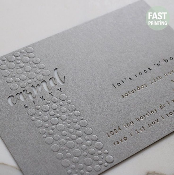 Combination of different finishes on 400gsm(16pt) extra grey : Laser cutting, Embossed and Foil finish #invitation #cards #printing #lasercutting #emboss #foil #fastprinting #australia #usa #uk #graphics #FP