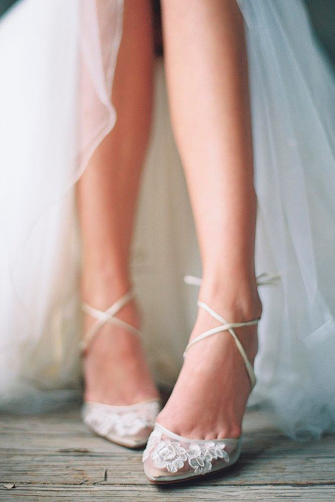 Hottest Wedding Shoes Trends For Bride ❤️ classic wedding shoes illusion mesh upper graced with delicate lace cross ankle straps lovely tied bow at heel cups bella belle ❤️ See more: http://www.weddingforward.com/wedding-shoes-trends/ #weddingforward #wedding #bride #weddingshoes