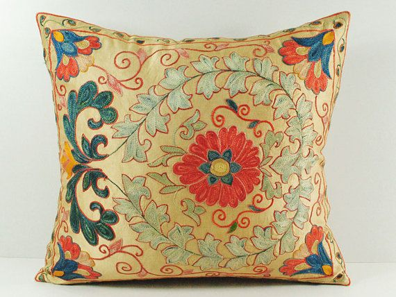 Vintage Hand Embroidered Uzbek Suzani Pillow MSP3-48