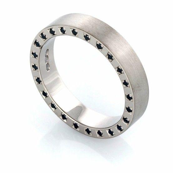Black diamond ring Gold ring men Wedding band by TorkkeliJewellery mens wedding bands