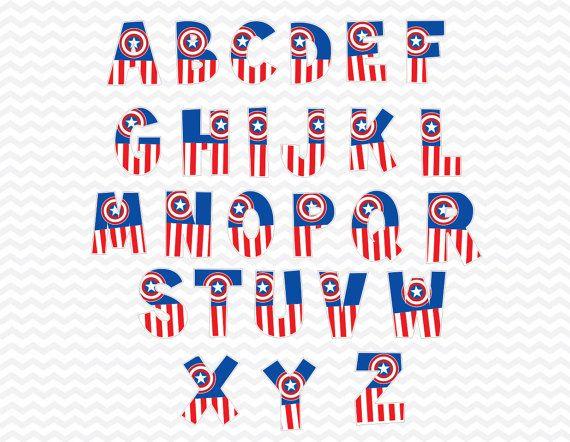 Super héroe Capitán América alfabeto superhéroe por ABCSongShop