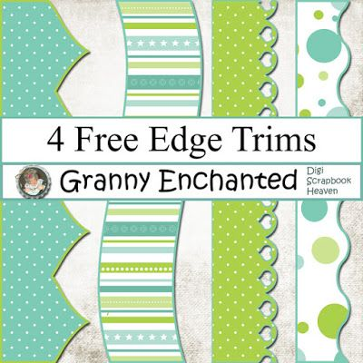 4 Free Teal Lime Digital Scrapbook Edge Trims ⊱✿-✿⊰ Join 5,200 others. Follow the Free Digital Scrapbook board for daily freebies. Visit GrannyEnchanted.Com for thousands of digital scrapbook freebies. ⊱✿-✿⊰