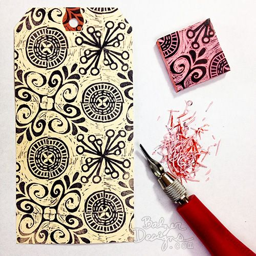 "carving a rotating repeat pattern stamp  with a ""wood cut style"" background - Balzer Designs"