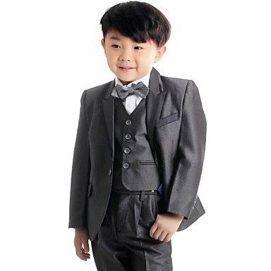Boy's Dark Grey Suit (Jacket+Vest+Pants) Three-Piece Set Ring Bearer's Wear Kid's Ceremonial Suit B22 – DKK kr. 314