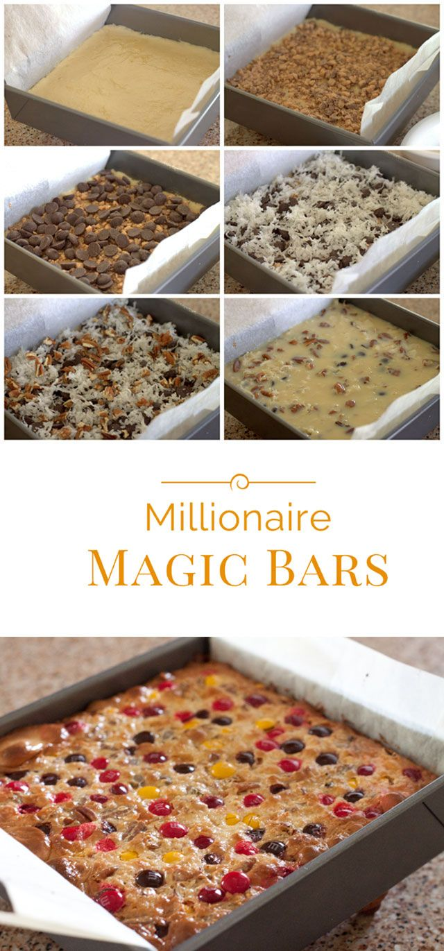 These Fall Millionaire Magic Bars are a cross between a Millionaire Bar and a Magic Bar. They have a shortbread cookie crust, layers of toffee, chocolate chips, coconut, sweetened condensed milk, and finished with a layer of fall M&M's.