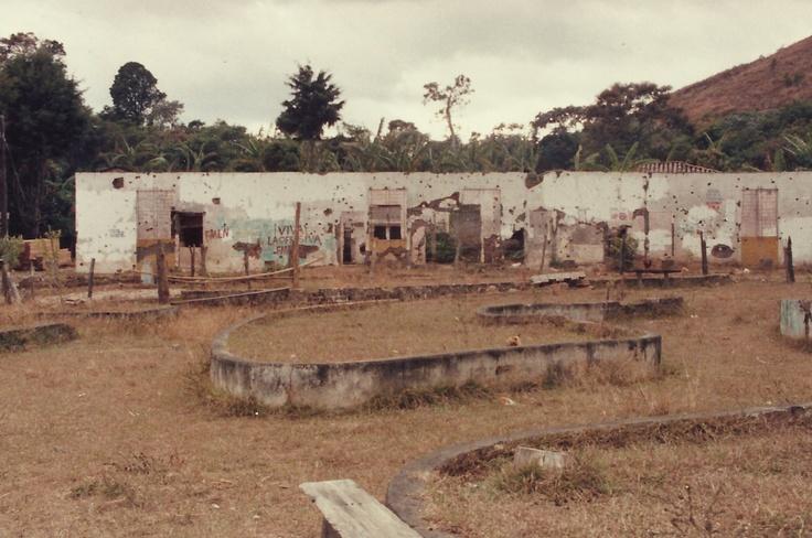 Damaged buildings during the Salvadoran civil war Perquin, Morazan