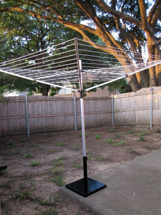 Picnic Umbrella Base To Use For Existing Clothesline Since Our In The Ground Broke Rad Ideas Home Outside Es Clothes Line