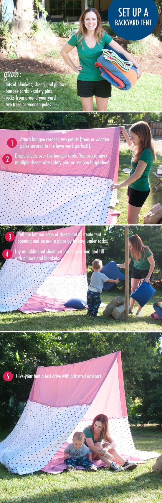 How to Set Up a Backyard Camp Site - This DIY has all the steps needed to entertain the kids and friends this summer