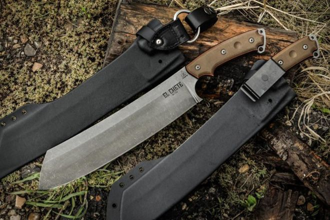 El Chete high carbon 1095 steel blade, measuring  12″ long and 1/4″ thick, this lightweight knife was designed to demolish wood. And this less than 2-pound hacking tool is attached to an equally formidable sandwich-layered black and green micarta handle that offers up superb grip in just about any conditions. El Chete also features the brand's new Acid Rain blade finish, which ensures that every knife is unique from the rest, and comes with a sturdy Kydex sheath for safe keeping. Get one now…