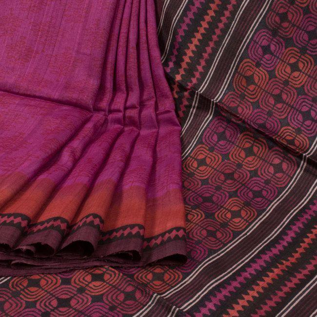 Sujata Magenta Ombre Printed Tussar Silk Saree 10008038 - profile - AVISHYA.COM