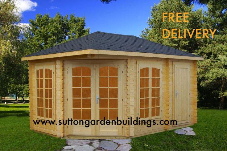 X corner summerhouse garden office sheds log for Corner garden office