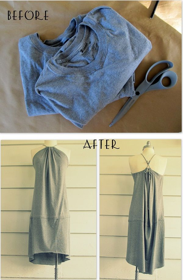 WobiSobi: Tee-Shirt, Fishtail Sundress, DIY. This would be great to do with two different colors in t-shirts. Maybe with a gathered t-shirt at the bottom.