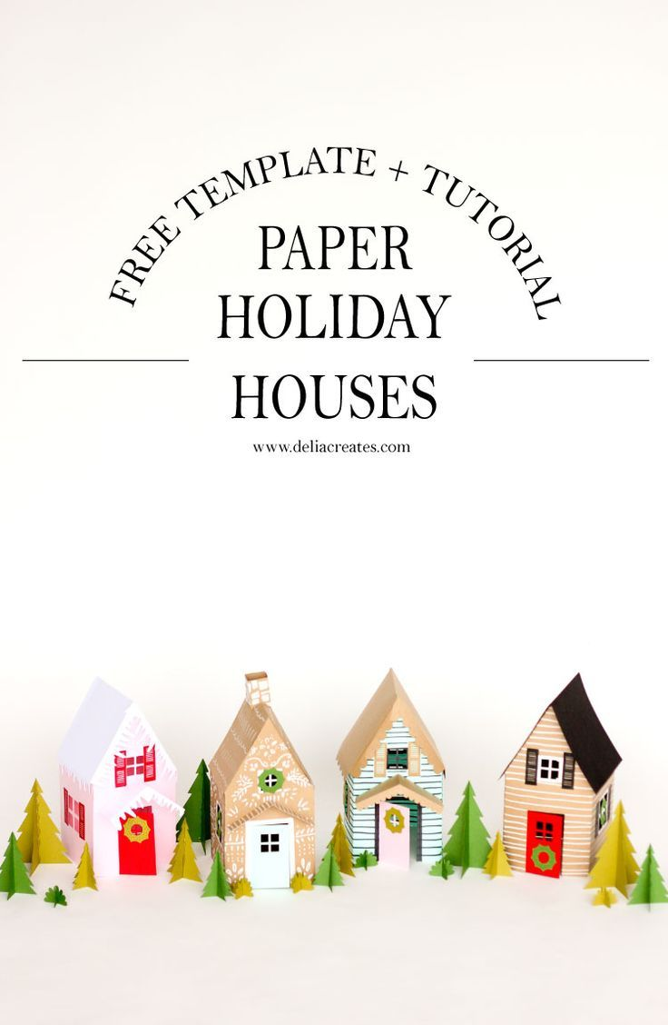 Paper Holiday Houses - free templates! // http://www.deliacreates.com #MakeItWithMichaels #sponsored