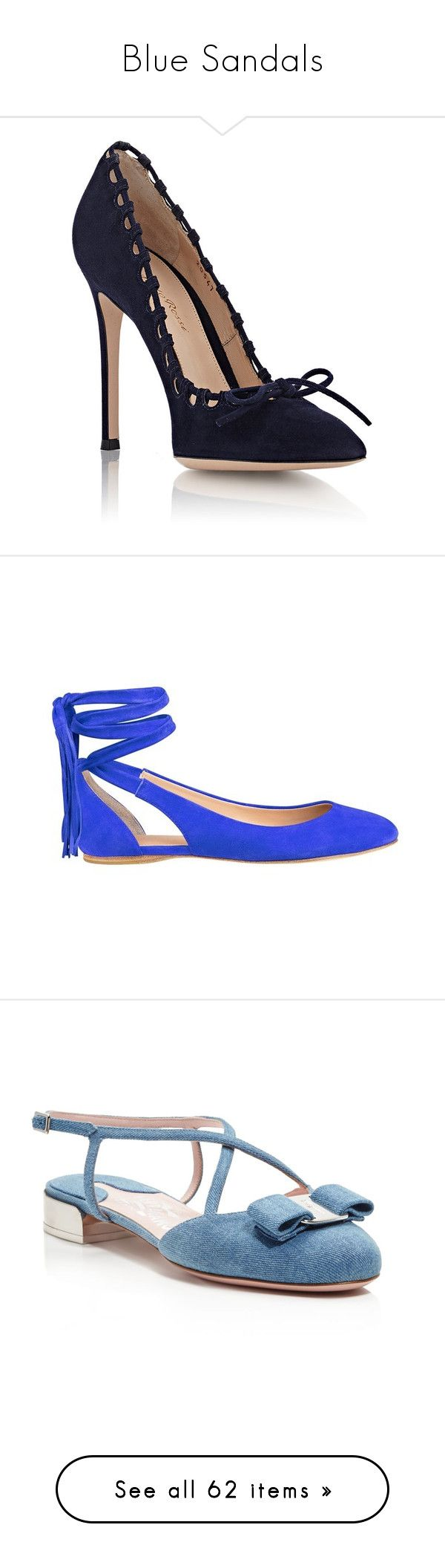 """""""Blue Sandals"""" by kikikoji ❤ liked on Polyvore featuring shoes, pumps, heels, high heel court shoes, high heel pumps, pointed toe pumps, pointed toe high heel pumps, navy blue shoes, flats and medium blue suede"""