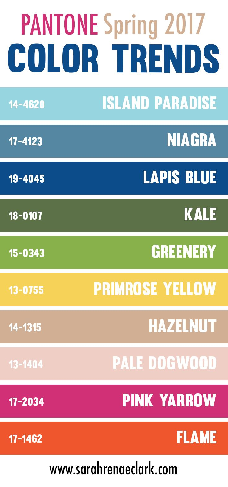 "Pantone Color Swatches Spring 2017; the idea behind swatches is ""greenery"" and ""nature""; think as we see designers having more fun with their designs, we also see them having more fun with color choices"