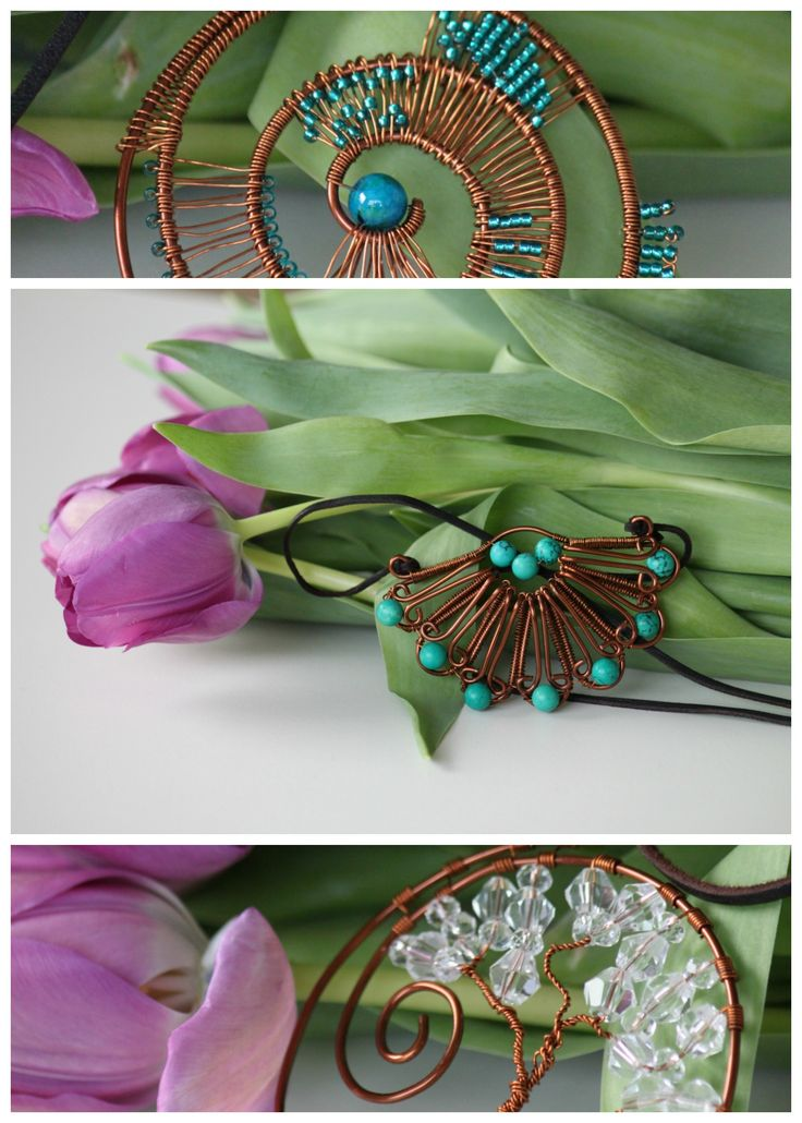Copper wire wrapped necklace jewelry