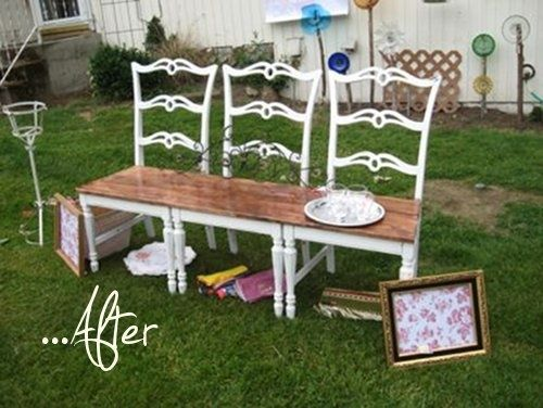 repurposed chairs into bench: Decor, Chairs Benches, Cute Ideas, Garden Benches, Chairs Convertible, Furniture, Old Chairs, Repurposed Chairs, Gardens Benches